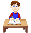 funny Boy cartoon writing above a desk vector image