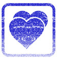 love hearts framed textured icon vector image