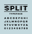bold font alphabet with split effect letters and vector image