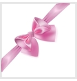Pink bow with ribbon located diagonally vector image