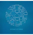 Thin Line Internet of Things Icons Set Circle vector image