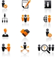 Collection of human resources icons vector image