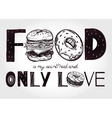 Funny food poster doodle style vector image