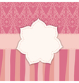 pink greeting card with a flower frame vector image