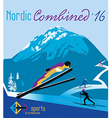 retro poster nordic combined in the mountains vector image