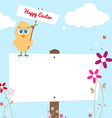 Easter chicken with signboard vector image vector image