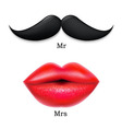 Moustaches With Lips vector image vector image