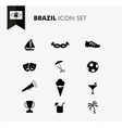 Brazil soccer icons set vector image vector image