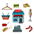Flat shopping icons for household appliances vector image