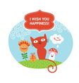 greeting card with cute animals vector image