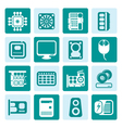 One tone Computer Performance and Equipment Icons vector image