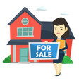 young female realtor offering house vector image