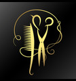 scissors and hairbrush golden vector image vector image