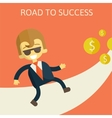 cheerful businesswoman walking along the road vector image