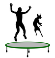 Woman and dog trampoline vector image vector image