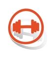 Barbell sign sticker orange vector image