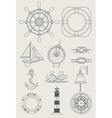 sea ship set icon vector image vector image