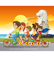 A family bike near the statue of Merlion vector image