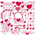 a red set of hand-drawn elements for design vector image