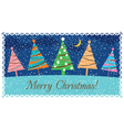Christmas card with decorated Christmas trees vector image