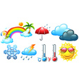 Different icons for weather and climate vector image