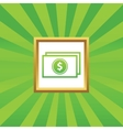 Dollar bill picture icon vector image