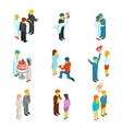 Isometric 3d relationship and wedding people icons vector image