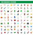 100 magic icons set cartoon style vector image