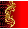 a red background with a gold floral ornament vector image vector image