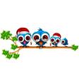 cute chritsmas blue birds family vector image vector image