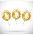 golden number 000 three zeros metallic balloon vector image