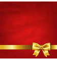 Gold Satin Bow And Red Vintage Background vector image