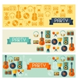 Horizontal banners with musical instruments in vector image