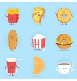 Set of cute cartoon fast food characters French vector image