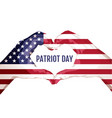 two palms make heart shape september 11 patriot vector image