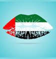 united arab emirates flag lipstick on the lips vector image