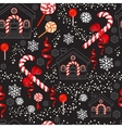 Christmas Candy Cane with red bow lollipop house vector image