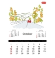 Calendar 2014 october Streets of the city sketch vector image