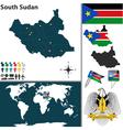 South Sudan map world vector image vector image