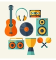 Set of musical instruments in flat design style vector image vector image