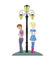 Two cartoon girls who are holding a cell phone vector image