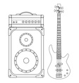Electric Bass Guitar and Amplifier vector image