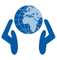 Caring for environment hands on globe vector image