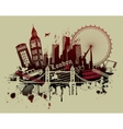 London landmarks in grunge style vector image