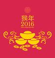 Monkeys zodiac and Chinese gold ingots Translation vector image