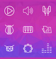 multimedia icons line style set with tambourine vector image
