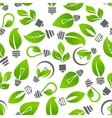 Eco energy light bulb with leaf seamless pattern vector image