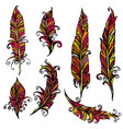 set of ornamental feather tribal design ink hand vector image vector image