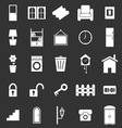 House related icons on black background vector image vector image