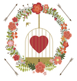 Romantic valentine design with birds cage vector image